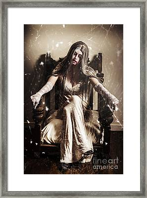 Haunting Horror Scene With A Strange Vampire Girl  Framed Print