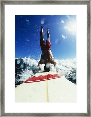 Hawaii, Maui, Hookipa, Buzzy Kerbox Riding A Wave While Doing A Headstand. Framed Print by Erik Aeder