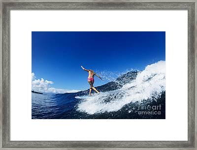 Hawaii, Maui, Hookipa, Kelly Potts Riding A Wave. Framed Print