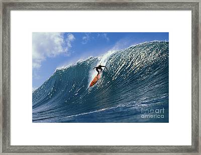 Hawaii, Oahu, North Shore, Action Shot Keala Dropping Down Steep Wave About To Curl Framed Print
