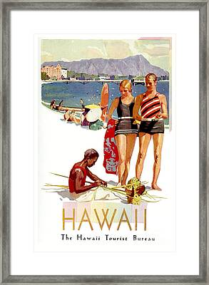 Hawaii Vintage Travel Poster Framed Print by Jon Neidert
