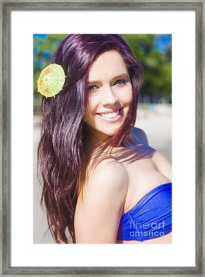 Hawaiian Girl In Hawaii Framed Print