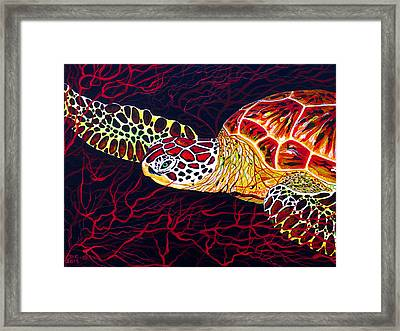 Framed Print featuring the painting  Hawksbill Turtle by Debbie Chamberlin