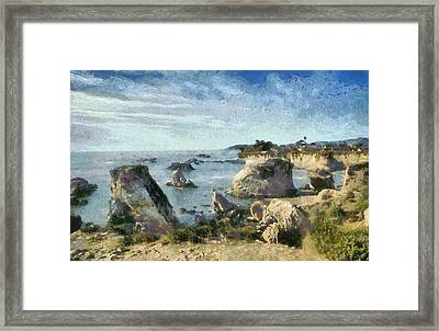 Hazy Lazy Day Pismo Beach California Framed Print by Barbara Snyder