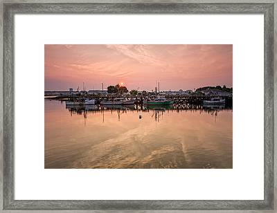 Hazy Sunrise Over The Commercial Pier Portsmouth Nh Framed Print by Jeff Sinon