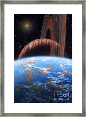 Hd 177830 B And Moon Framed Print by Lynette Cook