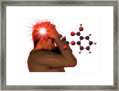 Headache And Aspirin Molecule Framed Print by Carol & Mike Werner