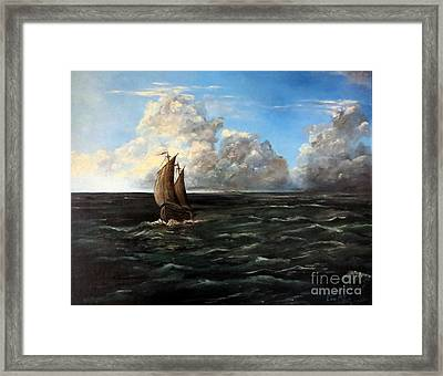 Heading For Shore Framed Print by Lee Piper