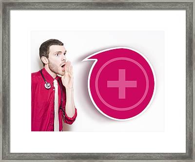 Healthcare Doctor Communicating Disease Outbreak Framed Print