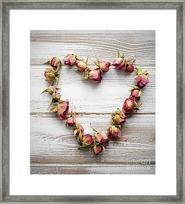 Heart From Dry Rose Buds Framed Print
