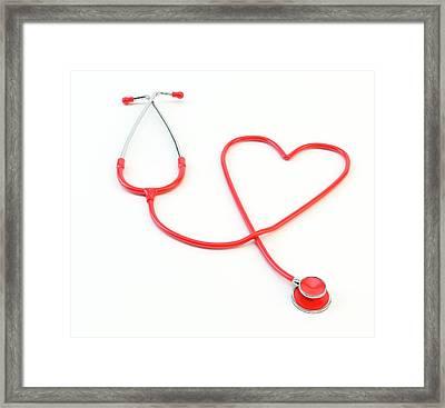 Heart Shaped Stethoscope Framed Print by Andrzej Wojcicki