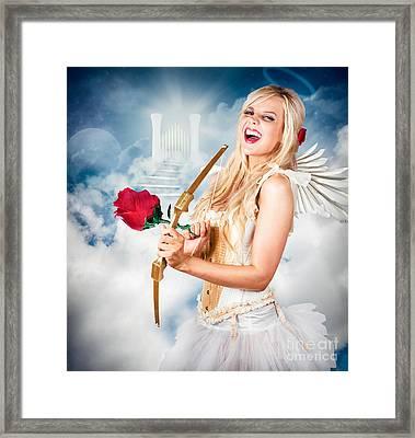 Heavenly Angel Of Love With Flower Arrow Framed Print