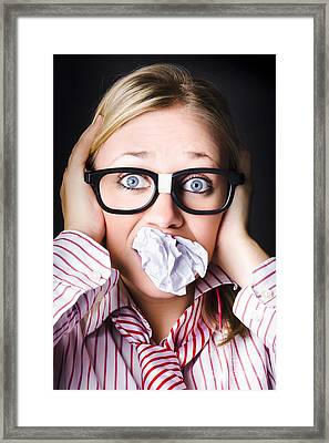 Hectic Business Person Under Stress Overload Framed Print