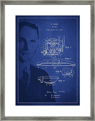 Henry Ford Engine Patent Drawing From 1928 Framed Print by Aged Pixel