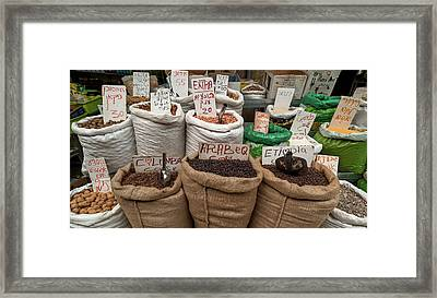 Herbs For Sale At A Market Stall Framed Print
