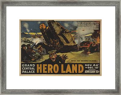 Hero Land Poster Framed Print by Underwood Archives