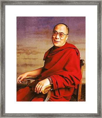 H.h. Dalai Lama Framed Print by Jan W Faul