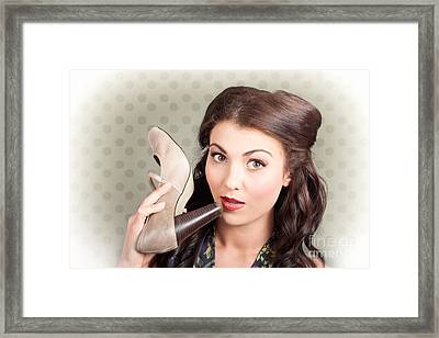 Hi Fashion. Retro Woman With High Heel Shoes Framed Print by Jorgo Photography - Wall Art Gallery