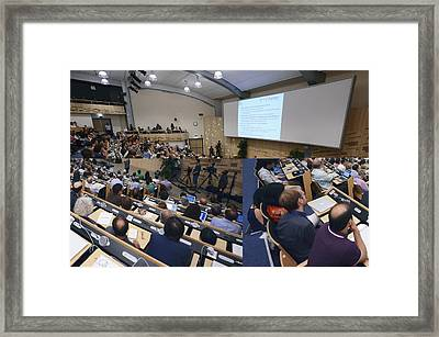 Higgs Boson Discovery Announcement Framed Print by Science Photo Library