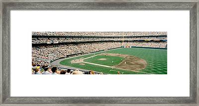 High Angle View Of A Baseball Field Framed Print