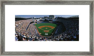 High Angle View Of A Baseball Stadium Framed Print