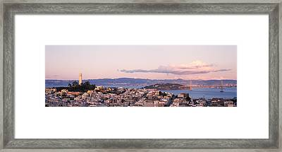 High Angle View Of A City, Coit Tower Framed Print