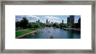 High Angle View Of A Group Of People Framed Print by Panoramic Images