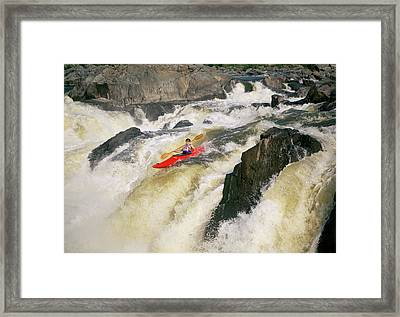 High Angle View Of A Person Kayaking Framed Print