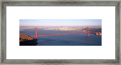 High Angle View Of A Suspension Bridge Framed Print