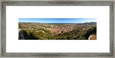 High Angle View Of A Town Framed Print