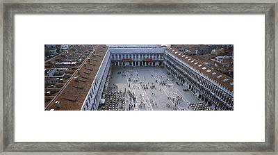 High Angle View Of A Town Square, St Framed Print