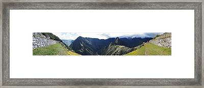 High Angle View Of A Valley, Machu Framed Print by Panoramic Images