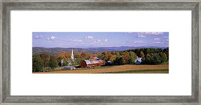 High Angle View Of Barns In A Field Framed Print