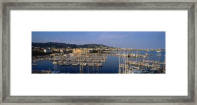High Angle View Of Boats Docked At Framed Print