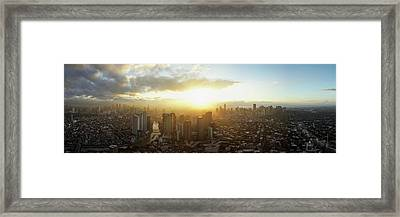 High Angle View Of Cityscape Framed Print