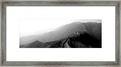 High Angle View Of The Great Wall Framed Print