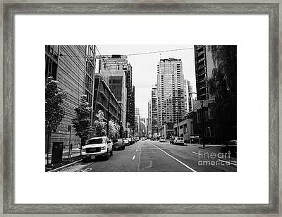 high rise apartment condo blocks in the west end west pender street Vancouver BC Canada Framed Print