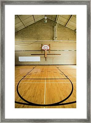 High School Basketball Court And Head Framed Print