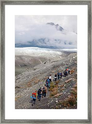 Hiking Trip To A Glacier Framed Print