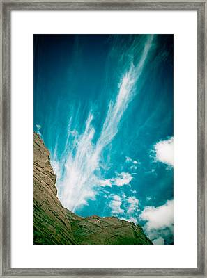 Himalyas Mountains In Tibet With Clouds Framed Print by Raimond Klavins