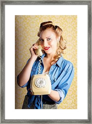 Hip Retro Girl Talking On Vintage Telephone Framed Print by Jorgo Photography - Wall Art Gallery