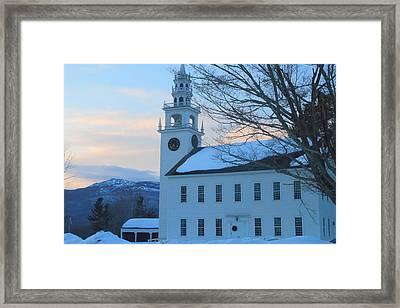 Historic Jaffrey Meetinghouse And Mount Monadnock Framed Print by John Burk