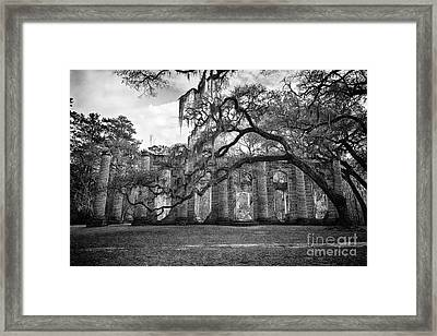 Historic Sheldon Church 4 Bw Framed Print
