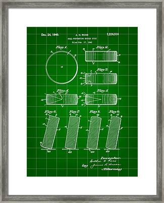 Hockey Puck Patent 1940 - Green Framed Print by Stephen Younts