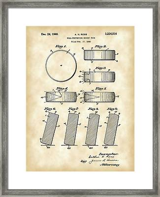 Hockey Puck Patent 1940 - Vintage Framed Print by Stephen Younts