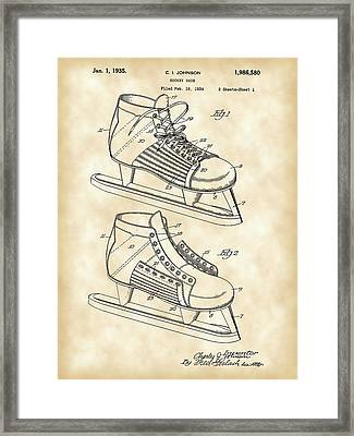 Hockey Shoe Patent 1934 - Vintage Framed Print by Stephen Younts