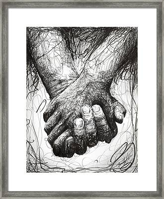 Holding Hands Framed Print by Michael Volpicelli