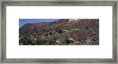 Hollywood Sign On A Hill, Hollywood Framed Print