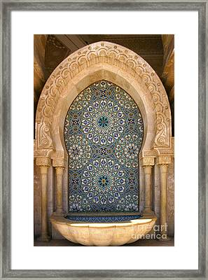 Holy Water Fountain Hassan II Mosque Sour Jdid Casablanca Morocco  Framed Print by Ralph A  Ledergerber-Photography