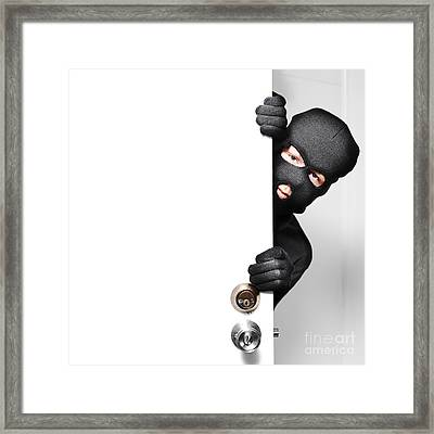 Home Burglar Opening House Door With Copyspace Framed Print by Jorgo Photography - Wall Art Gallery